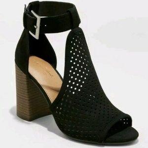 Hannah Microsuede Laser Cut Heeled Pump Sandals